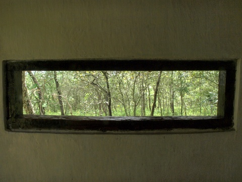 Guests should never be without a view - so even our latrines offer a glimpse of the woodland vista.